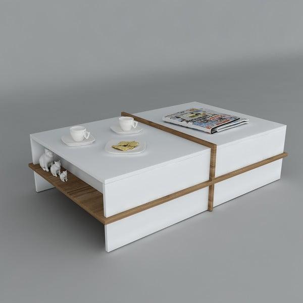 Konferenční stolek Plus White/Walnut, 60x90x35 cm