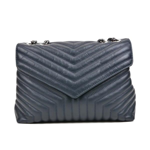 Modrá kožená taška cez rameno s 3 vreckami Luisa Vannini