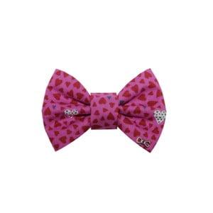Papion cu inimioare,  Funky Dog Bow Ties, accesoriu pentru câine, mărimea S, roz