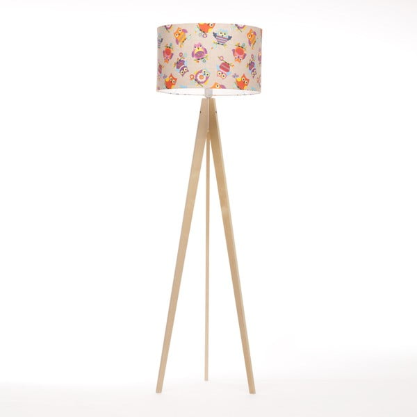 Stojací lampa Artist Happy Ow Linnenl/Birch Natural, 125x42 cm