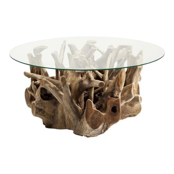 Măsuță cu blat din sticlă și suport din lemn de tec Kare Design Roots, Ø 100 cm
