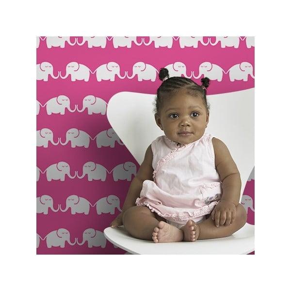 Vliesová tapeta Elephants For Her 270x46.5 cm, růžová
