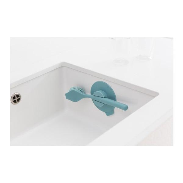 Mátově modrý kartáč na nádobí s držákem Brabantia