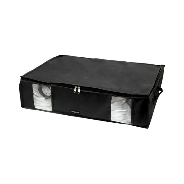 Čierny úložný box na oblečenie pod posteľ Compactor XXL Black Edition 3D, 145 l