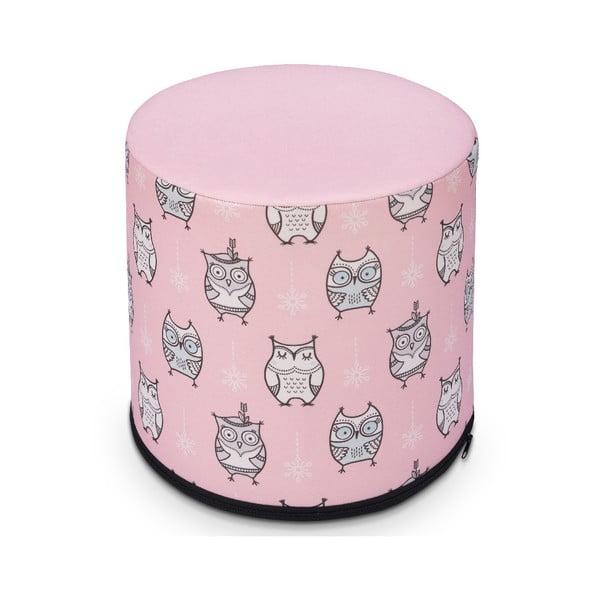 Ružový detský sedací puf s motívom sovičiek KICOTI, 40 × 40 cm