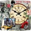 Skleněné hodiny New York, 34x34 cm