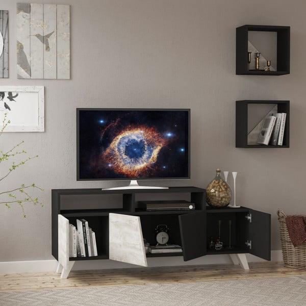 Set antracitového TV stolku a 2 nástěnných poliček Homitis Cafune