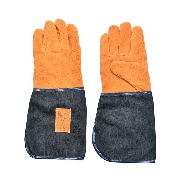 Denim kék-narancssárga kerti kesztyű csuklóvédővel - Esschert Design