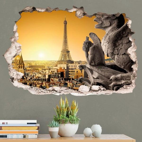 3D samolepka na zeď Ambiance Eiffel Tower and Norte Dame de Paris