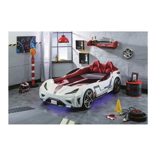 Bílá dětská postel ve tvaru auta s tyrkysovým osvětlením Fast GTS Carbed White
