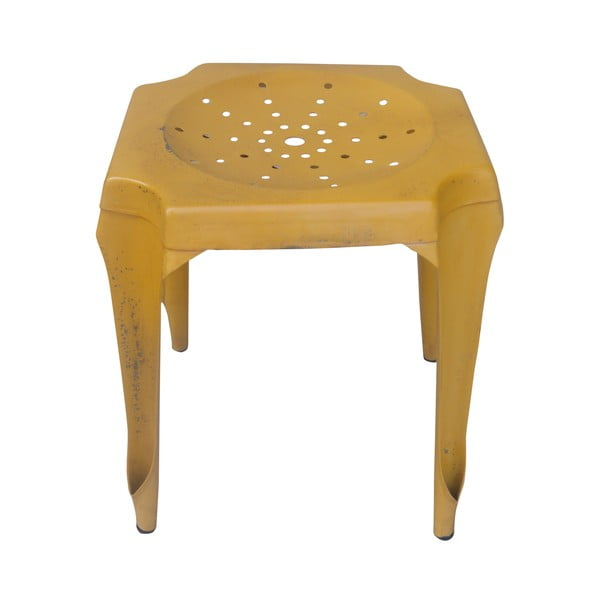 Kovový retro stolek Gion, žlutý