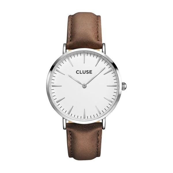 Dámské hodinky s hnědým koženým řemínkem a detaily ve stříbrné barvě Cluse La Bohéme