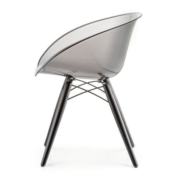 Transparentní šedá židle Pedrali Gliss Wood