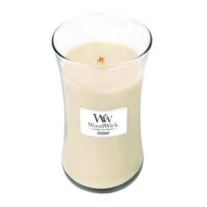 Lumânare parfumată WoodWick, aromă de cocos și vanilie, 130 ore
