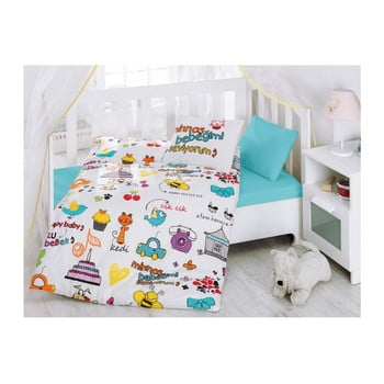 Lenjerie de pat cu cearșaf pentru copii Mutlu Bebek, 100 x 150 cm imagine
