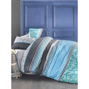Lenjerie de pat și cearșaf Miranda Turquoise, 200x220cm