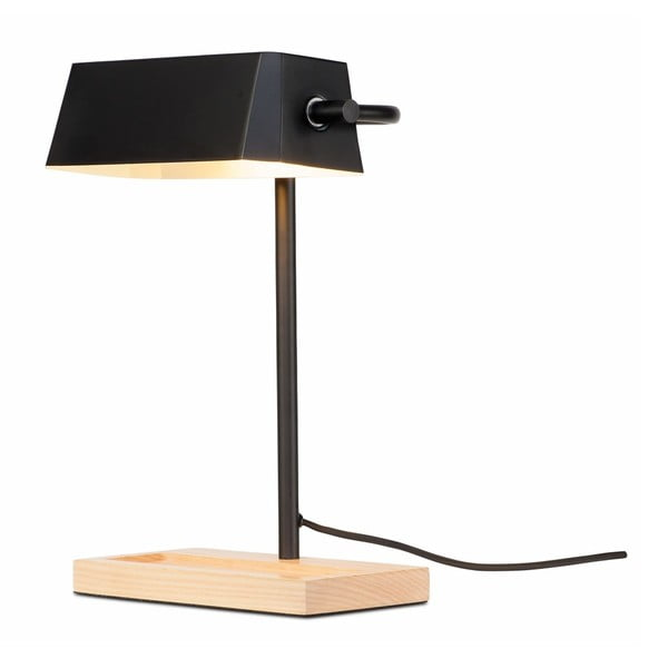 Čierna stolová lampa s prvkami z jaseňového dreva Citylights Cambridge