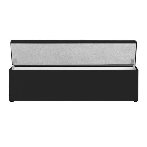 Ladă tapițată cu spațiu de depozitare Kooko Home, 47 x 140 cm, negru