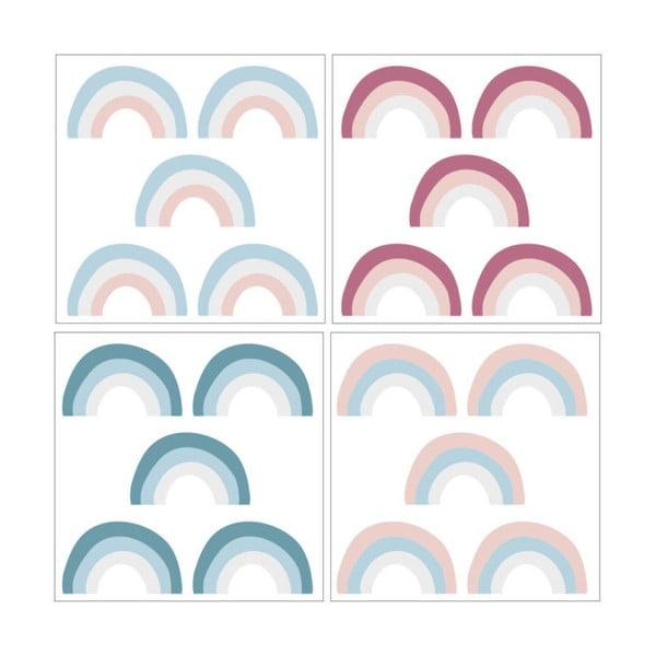 Sada 20 nástěnných samolepek Dekornik Rainbow Color