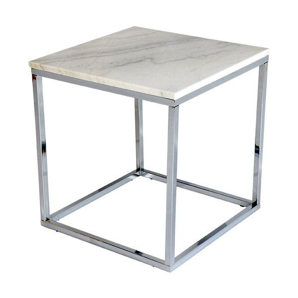 Accent fehér márvány tárolóasztal krómozott vázzal, szélesség 50 cm - RGE
