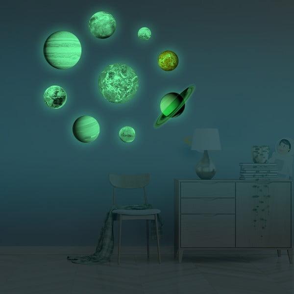 Komplet 9 świecących naklejek Ambiance Solar System