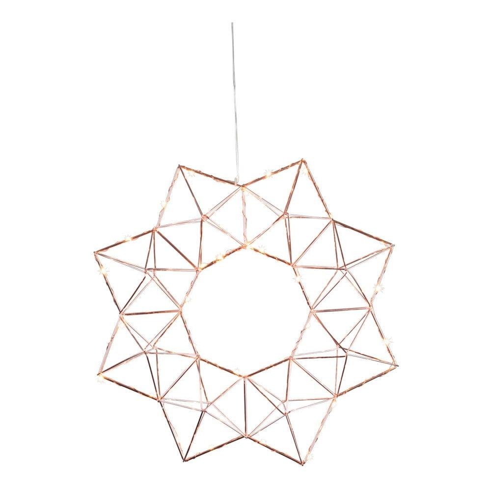 Závěsná svítící LED dekorace Best Season Polygon Copper, ⌀ 40 cm