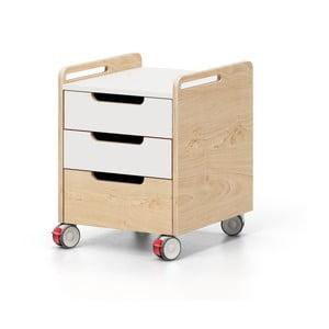 Dulăpior cu roți și sertare Devoto Nimbo, culoarea lemnului natural - alb