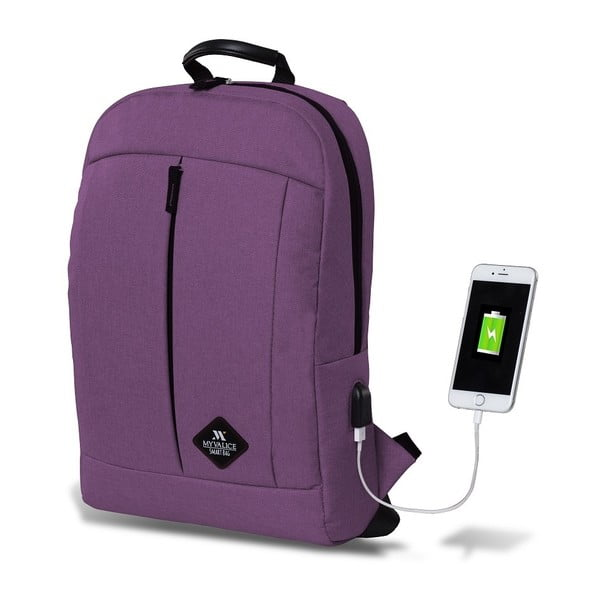 Fioletowy plecak z portem USB My Valice GALAXY Smart Bag