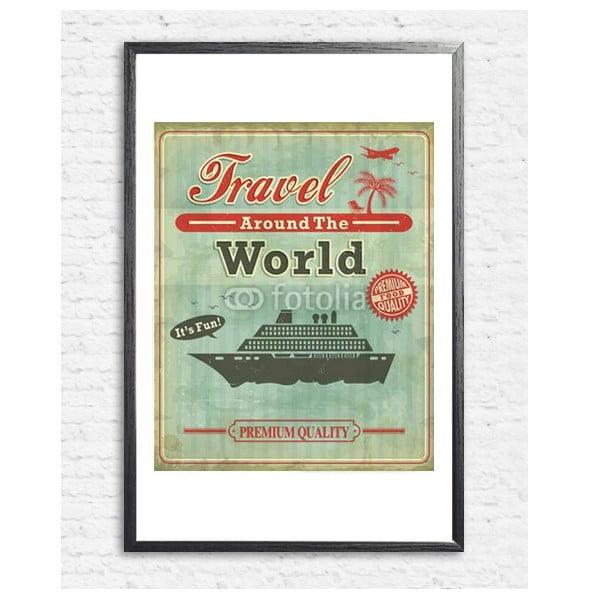 Zarámovaný plakát Vintage Travel Around the World, černý rám
