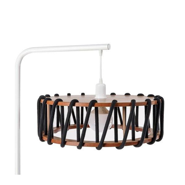 Stojací lampa s bílou konstrukcí a velkým černým stínidlem EMKO Macaron