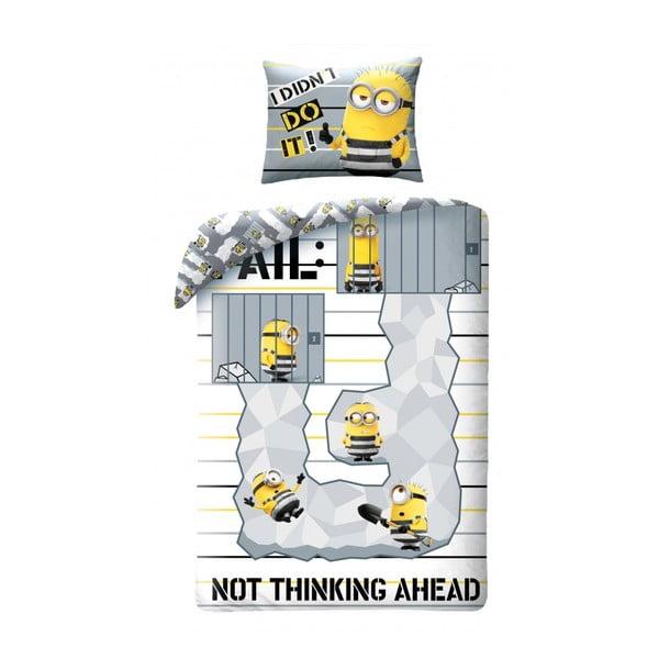 Lenjerie de pat din bumbac pentru copii Halantex Minions Not Thinking Ahead, 140 x 200 cm