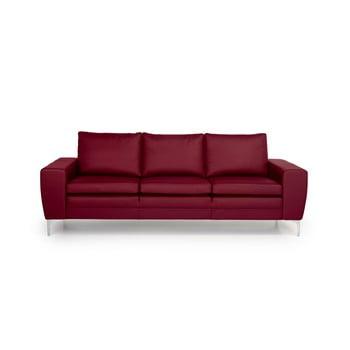 Canapea cu 3 locuri din piele Softnord Twigo roșu