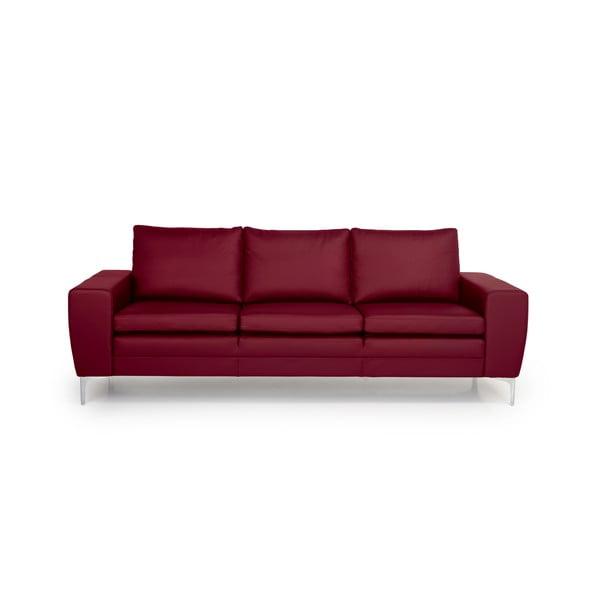 Červená kožená trojmiestna pohovka Softnord Twigo