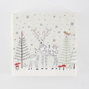 Sada 20 papírových utěrek s vánočním motivem Sass & Belle
