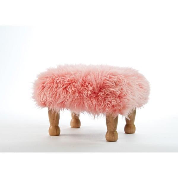 Stolička z ovčí kůže Angharad Baby Pink