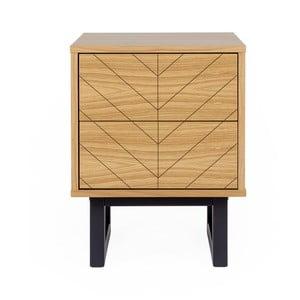 Noční stolek z březového dřeva Woodman Camden Herringbone Print
