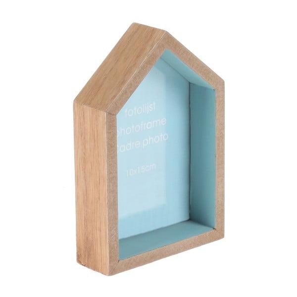 Nástěnný fotorámeček House, modrý podklad