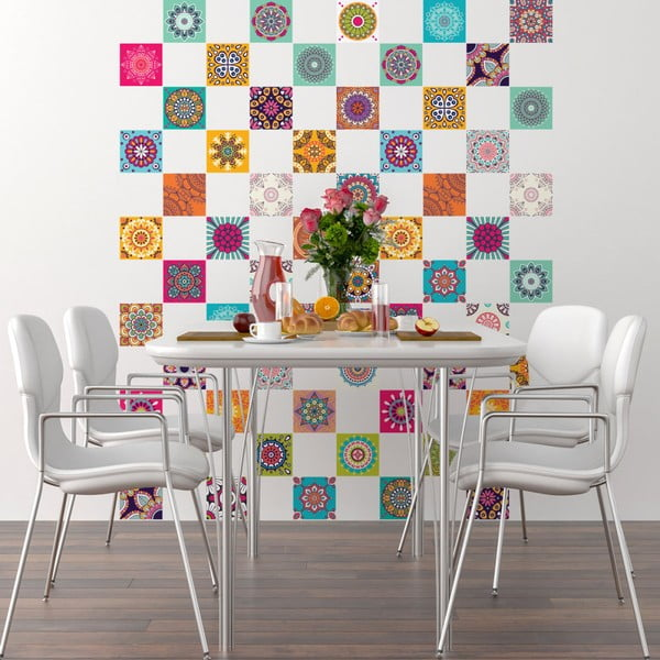 Sada 60 dekorativních samolepek na stěnu Ambiance Flow, 20 x 20 cm