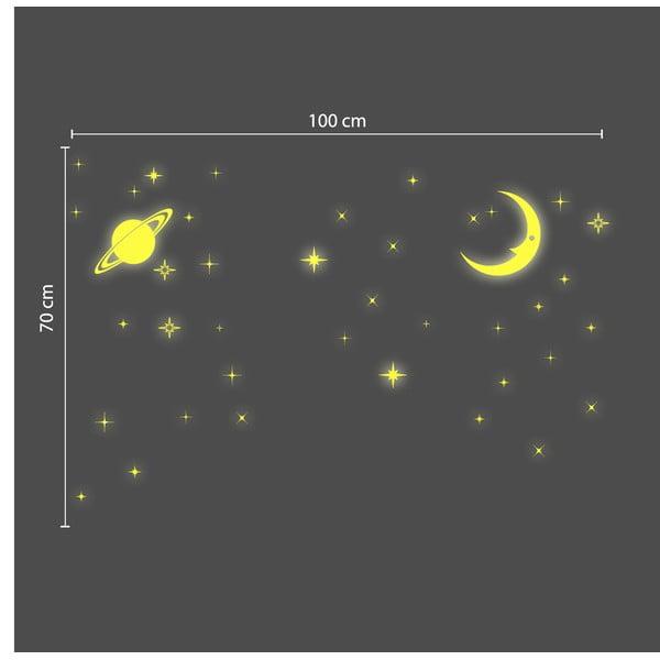 Ve tmě svítící samolepka Walplus Stars and Moons