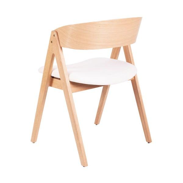 Set 2 scaune din lemn de cauciuc sømcasa Rina, natural-alb