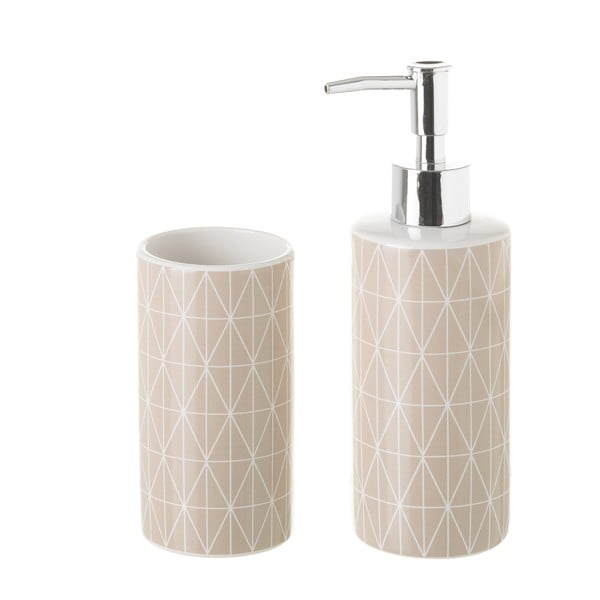 Set suport periuțe și dozator de săpun Unimasa Deli, ceramică