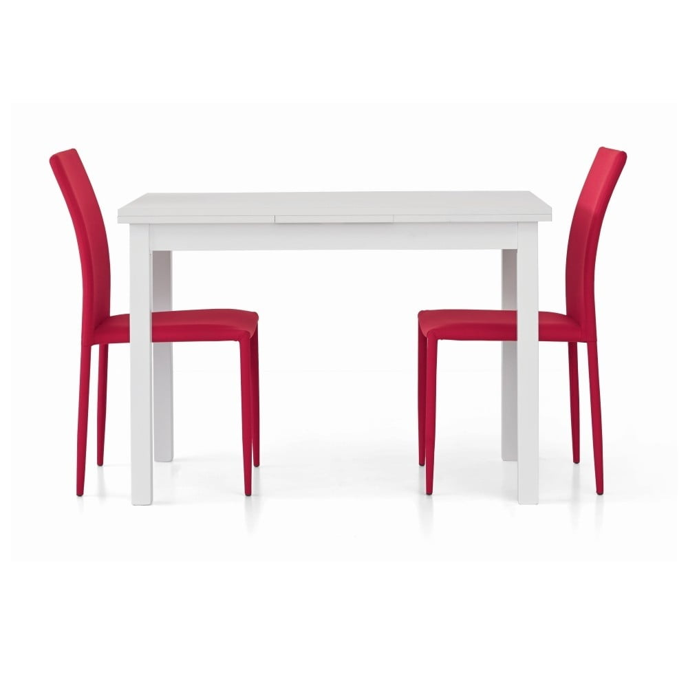 Bílý dřevěný rozkládací jídelní stůl Castagnetti Wyatt, 110 cm