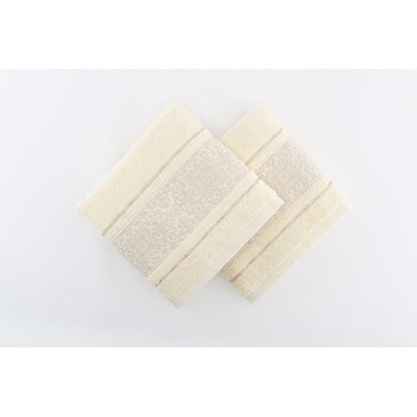 Sada 2 krémových osušek Giselle Cream, 70x140cm