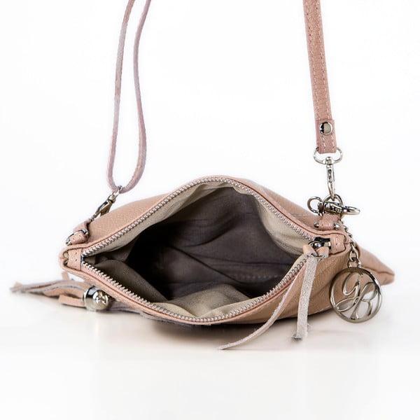 Kožená kabelka Roberto, pudrová