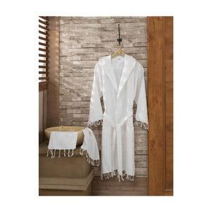 Set bílého županu a ručníku Sultan White, vel. L/XL