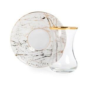 Set sklenice a podšálku Vivas Gold Marble, 100 ml
