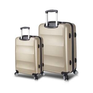 Sada 2 cestovních kufrů na kolečkách s USB porty ve zlaté barvě My Valice LASSO Cabin & Large