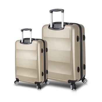 Set 2 valize cu roți și port USB My Valice LASSO Cabin & Large, auriu de la Myvalice