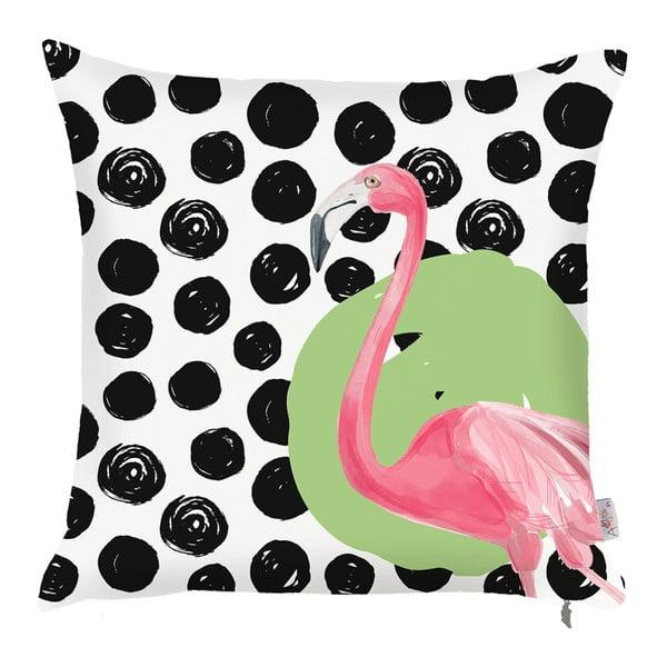 Czarno-biała poszewka na poduszkę Apolena Dots Flamingo, 43x43cm