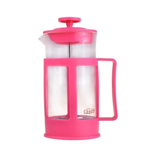 French press pentru cafea și ceai Bambum Magic, 350 ml, roz/roșu